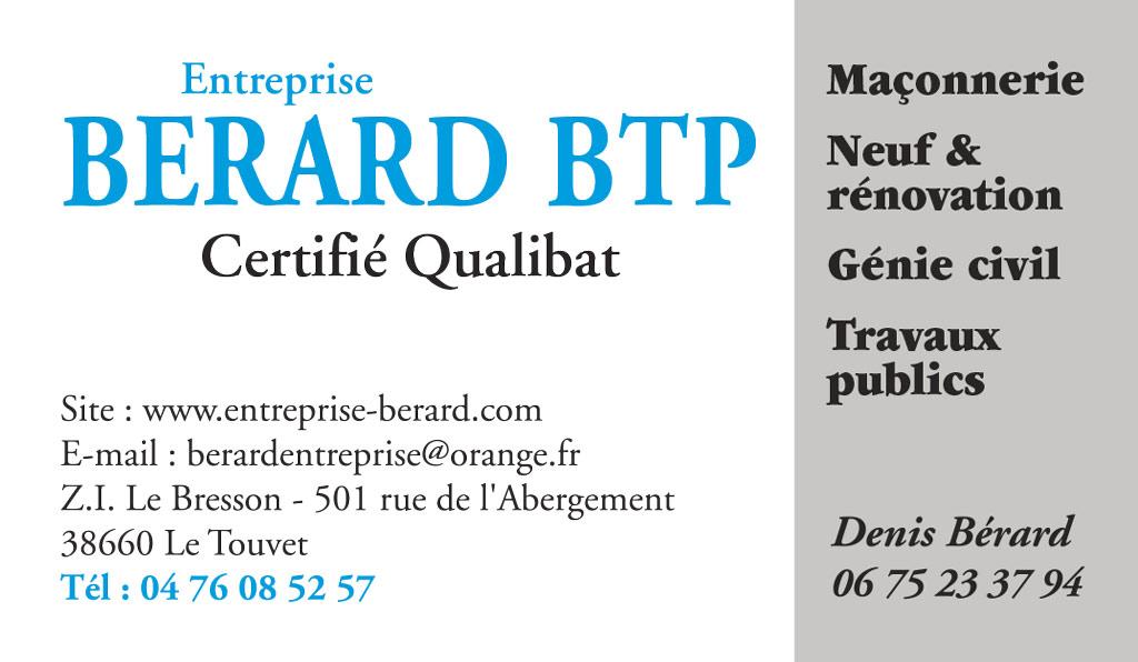 Bérard BTP - Carte de visite